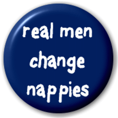 Small 25mm Lapel Pin Button Badge Novelty Real Men Change Nappies
