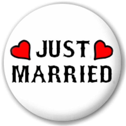 Small 25mm Lapel Pin Button Badge Novelty Just Married Sign