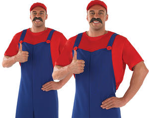 Mens Red Super Mario Brothers Fancy Dress Costume Mario & Luigi Outfit Do M-XL