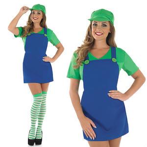 Ladies Sexy Green Plumber Fancy Dress Costume Super Mario Brothers Hen UK 8-30