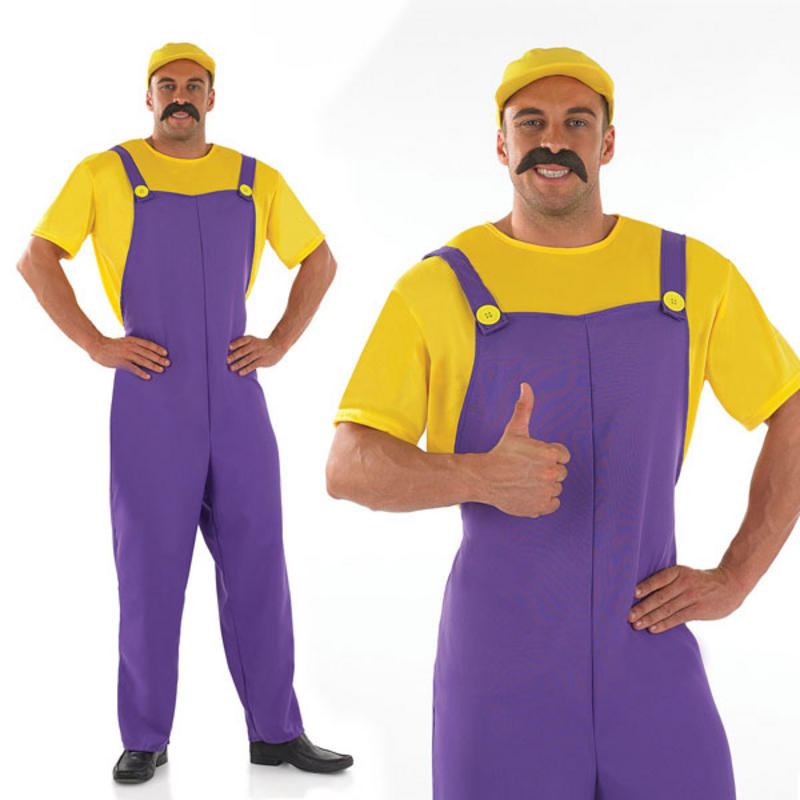 Mens Yellow Plumber Fancy Dress Costume Stag Do Outfit Super Mario ...