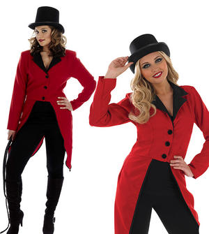 Ladies Circus Ring Master Jacket Fancy Dress Costume Tail Coat Outfit UK 8-30