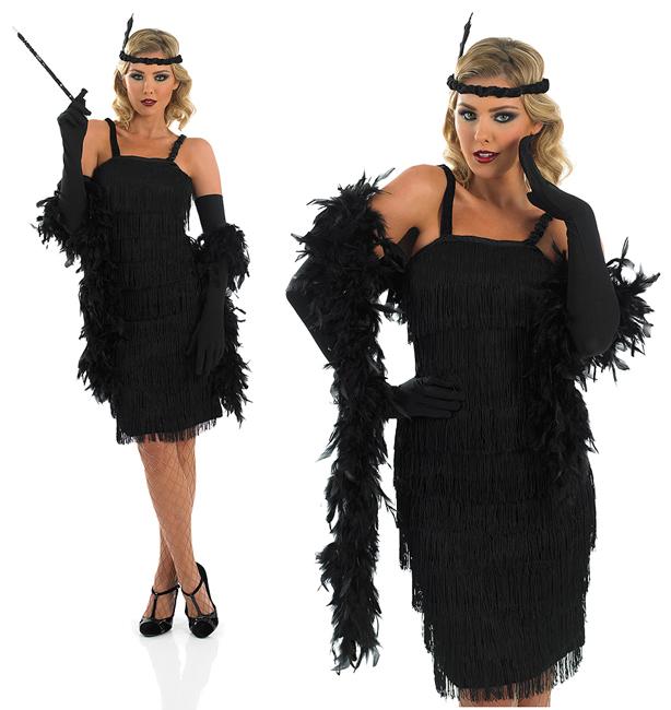 Donna Nero Rosso Flapper Costume Charleston 20s Gatsby Ragazza Costume UK 10-14