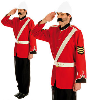 Mens Boer War British Soldier Fancy Dress Costume Military Zulu Uniform M-XL