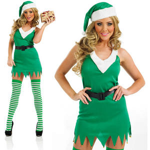 Ladies Flirty Elf Fancy Dress Costume Santas Helper Christmas Outfit UK 8-30