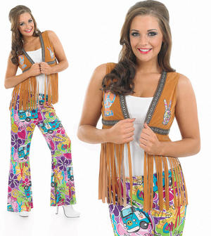 Ladies Tan Hippie Waistcoat Fancy Dress Costume 1970S Hippy Chick UK 8-30