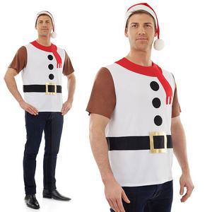 Mens Snowman Christmas Jumper Design T-Shirt Fancy Dress Costume Outfit M-XL