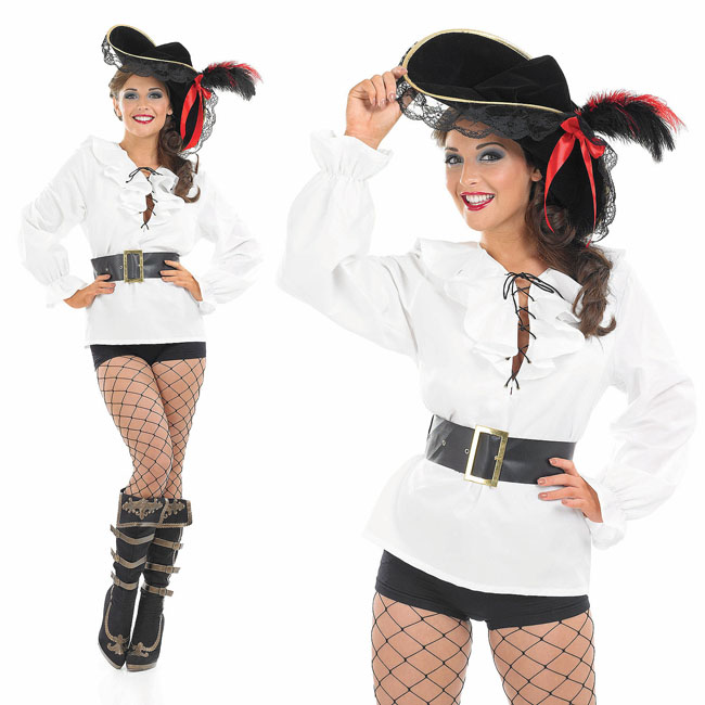 Deck Hand Pirate Girl Fancy Dress Ladies Pirates Womens Adult Costume Hat New