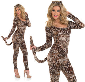 Ladies Cougar Catsuit Fancy Dress Costume Sexy Leopard Jungle Cat Outfit UK 8-30