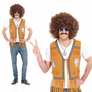 Mens Hippie Fringed Waistcoat Fancy Dress Costume 1970S Hippy Peace Outfit M-XL