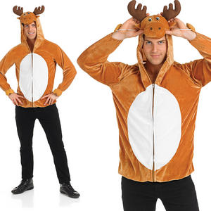 Mens Reindeer Top Rudolf Fancy Dress Costume Christmas Stag Do Party Outfit M-XL