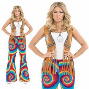 Ladies Tie Dye Flares Hippie Fancy Dress Costume Hippy Chick 70s Outfit UK 8-30