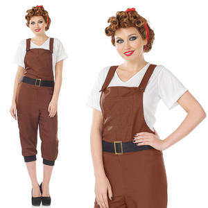 Ladies Land Girl Fancy Dress Costume War Time Girl 1940S WW2 Outfit UK 8-30