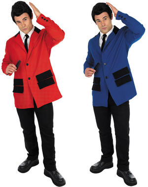 Mens Red or Blue Teddy Boy Fancy Dress Costume Suit 50S Outfit Adult M-XL