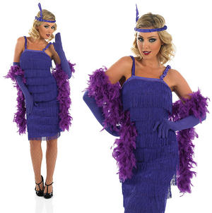 Ladies Purple Flapper Fancy Dress Costume 20S Charleston Gatsby Outfit UK 8-30