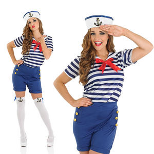 Ladies Sassy Sailor Girl Costume Sexy Navy Fancy Dress Outfit Womens UK 8-30