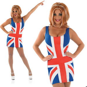 Ladies Union Jack Fancy Dress Costume Ginger Spice Girls British Outfit UK 8-30