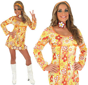 Ladies Yellow Hippie Fancy Dress Costume 70S Groovy Hippy Outfit UK 8-30