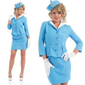 Ladies Blue Cabin Crew Fancy Dress Costume Air Hostess Uniform UK 8-30