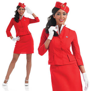 Ladies Red Cabin Crew Fancy Dress Costume Air Hostess Unifrom Outfit UK 8-30