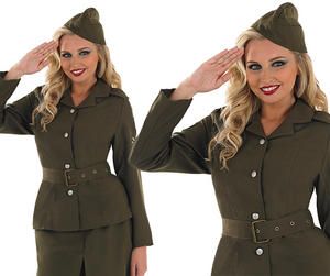 Ladies Kakhi Ww2 Army Girl Fancy Dress Costume World War 2 Outfit UK 8-30