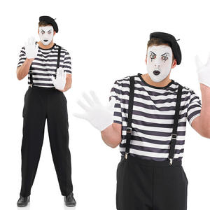 Mens French Male Mime Artist Fancy Dress Costume Halloween Outfit M-XL