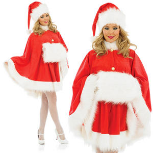 Ladies Sexy Miss Santa Fancy Dress Costume Mrs Clause Cape Outfit UK 8-30