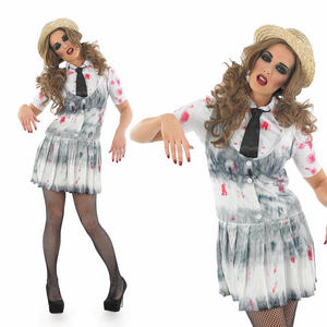 Ladies Sexy Zombie School Girl Fancy Dress Costume Fancy Dress Outfit UK 8-30