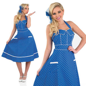 Ladies 50S Style Blue Fancy Dress Costume Rock N Roll Vintage Outfit UK 8-30