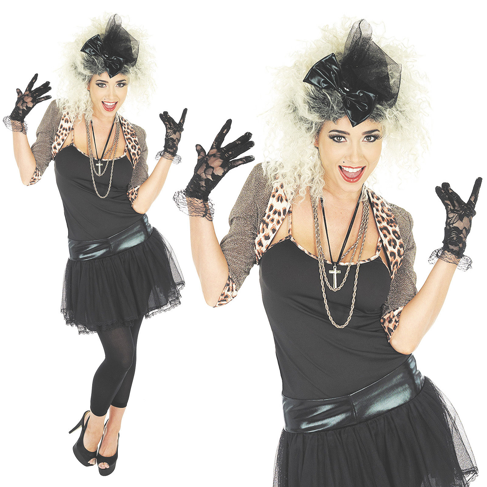 e26b836aaa Sentinel Ladies Wild Child Madonna Fancy Dress Costume 80S Retro Pop Star  Outfit UK 8-30 Sc 1 St EBay