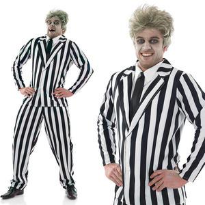 Mens Black & White Beetleman Suit Fancy Dress Costume Halloween Juice M-XL