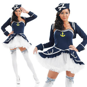 Ladies Sexy Tutu Sailor Girl Fancy Dress Costume Naval Officer Outfit UK 8-30