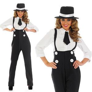 Ladies Black Gangster Pinstripe Fancy Dress Suit Costume 20S Pimp Outfit UK 8-30