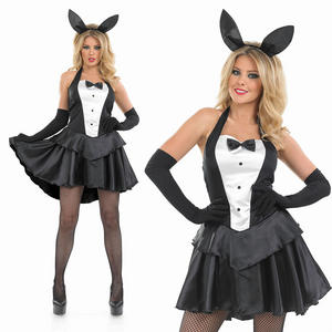 Ladies Sexy Black Bunny Girl Fancy Dress Costume Tuxedo Hostess Outfit UK 8-30