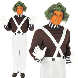 Mens Umpa Lumpa Fancy Dress Costume & Wig Factory Worker Outfit M-XL