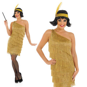 Ladies Gold Flapper Fancy Dress Cosume Gatsby 20S Charleston Outfit UK 8-30