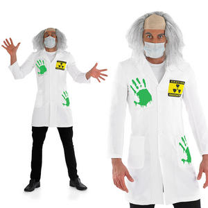 Mens Mad Scientist Fancy Dress Costume Light Up Labcoat Halloween Outfit M-XL