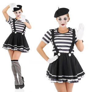 Ladies Sexy Mime Artiste Fancy Dress Costume Black White French Circus UK 8-30