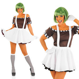 Ladies Sexy Factory Worker Fancy Dress Costume Umpa Lumpa Outfit & Wig UK 8-30