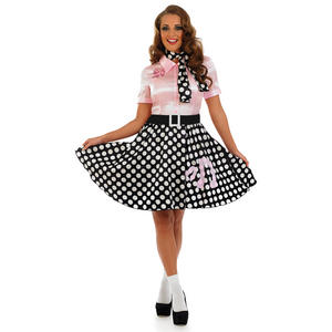 Ladies 1950S Rock N Roll Girl Fancy Dress Costume Poodle Hop 50S Outfit UK 8-30