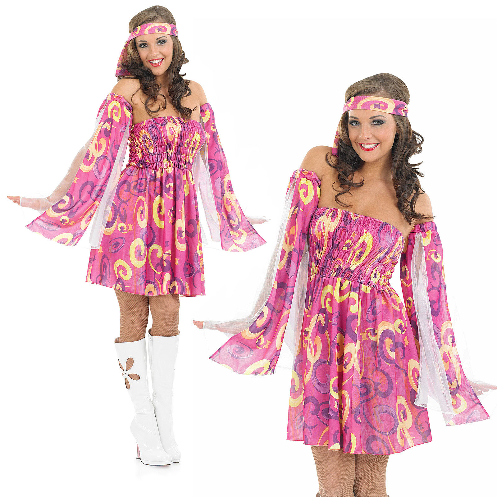 Ladies 1960s Pink Swirl Fancy Dress Costume Hippy Hippie 60s Outfit Uk 8 30 Ebay