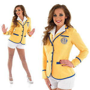 Ladies Hi De Hi Fancy Dress Costume Holiday Camp Yellow Coat Outfit UK 8-30