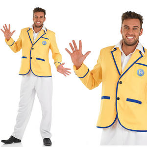 Mens Hi De Hi Fancy Dress Costume Holiday Camp Yellow Coat Host Outfit M-XL