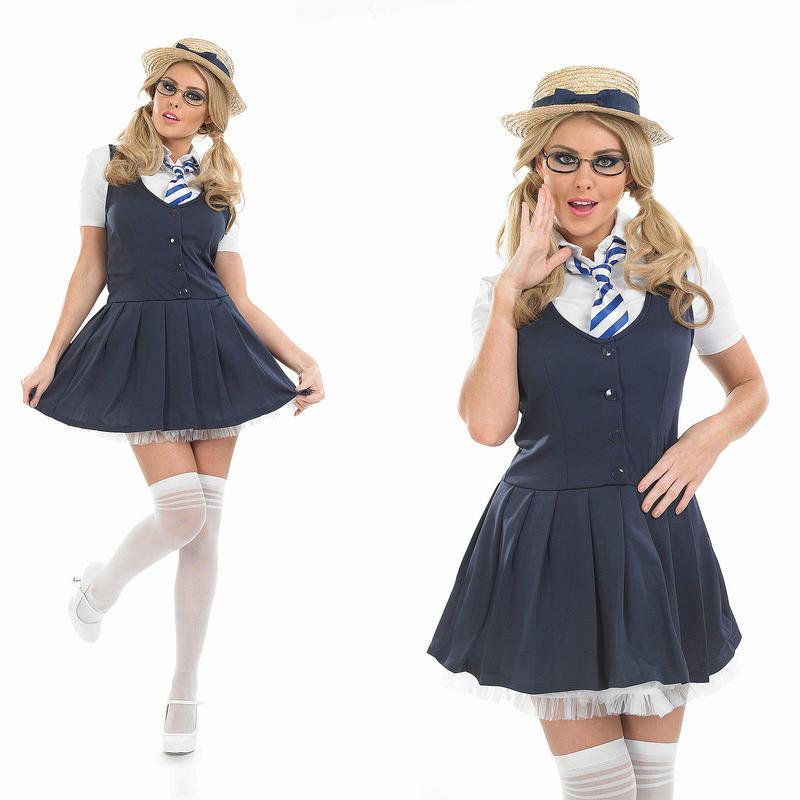 Womens Ladies School Girl St Trinians Fancy Dress Costume Dress /& Boater Hat