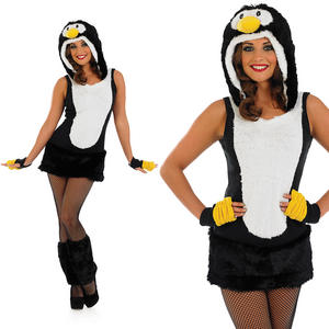Ladies Black Sexy Penguin Fancy Dress Costume Christmas Animal Outfit UK 8-30