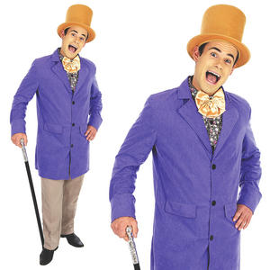 Mens Willy Wonka Fancy Dress Costume Victorian Factory Worker Outfit M-XL