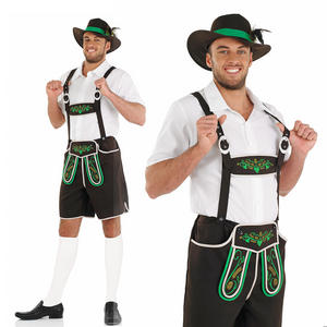Mens Bavarian Oktoberfest Fancy Dress Costume German Lederhosen Beer Outfit M-XL