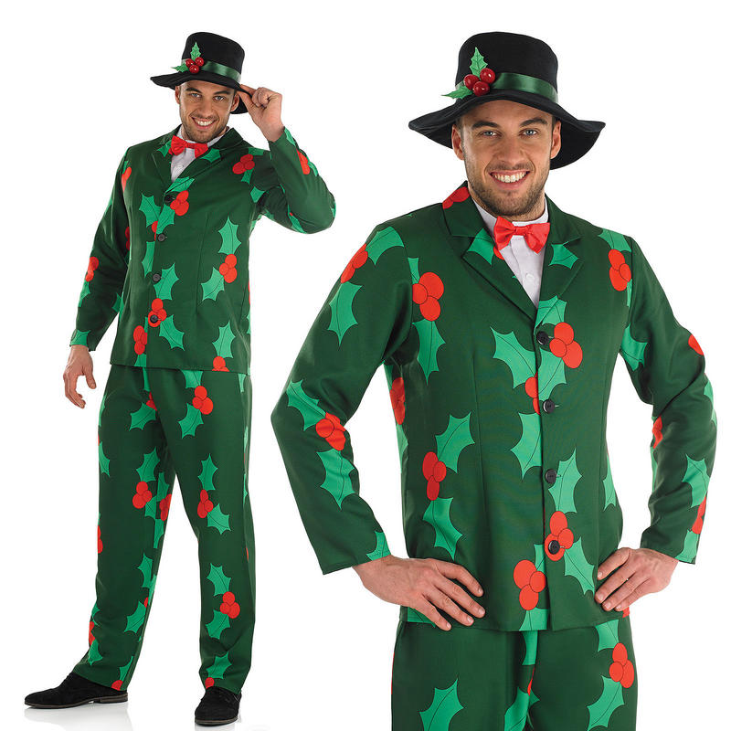 697bda8f11 Mens Christmas Suit Fancy Dress Costume Holly   Berries Theme Outfit M-XL.  zoom Hover or click to enlarge. 2. 1