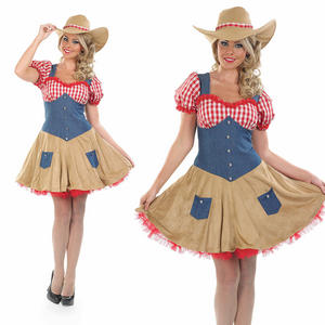 Ladies Cowgirl Fancy Dress Costume Western Jessie Cowgirls Hen Do Outfit UK 8-30