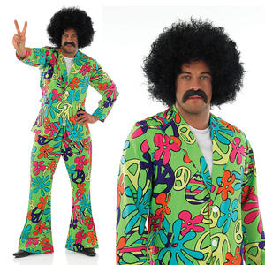 Mens Green Psychedelic Suit Fancy Dress Costume 60S 70S Hippy Hippie Outfit M-XL